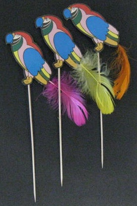 Paper Parrot with Feather Tail Pick